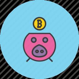 bank, banking, bitcoin, digital, finance, piggy, savings icon