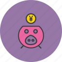 bank, banking, finance, piggy, save, savings, yen icon