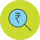 find, funds, identify, locate, rupee, search, source icon