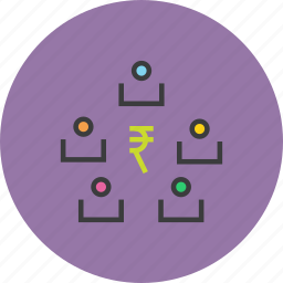business, funds, rupee, stakeholders, trade, transaction, transfer icon