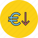 currency, decrease, euro, finance, foreign exchange, shares, value icon