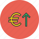 banking, currency, euro, finance, foreign exchange, increase, value icon