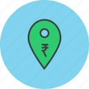 atm, bank, cashpoint, location, map marker, pin, rupee icon