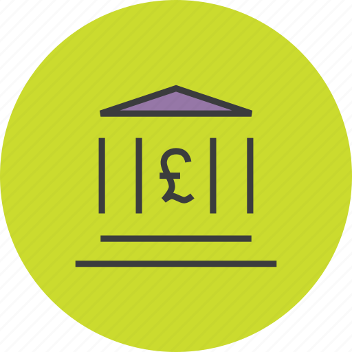 bank, banking, building, finance, financial, instituition, pound icon
