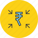 arrow, crowdfunding, funds, get, receive, rupee, transfer icon