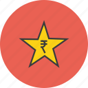 award, credit, favorite, rate, reward, rupee, star icon