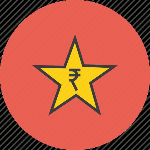 award, credit, favorite, rate, reward, rupee, star icon