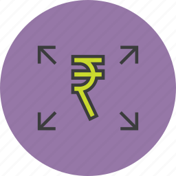 banking, distribute, finance, funds, rupee, send, transfer icon