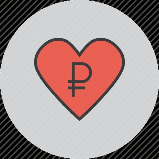care, charity, donate, donation, heart, love, ruble icon