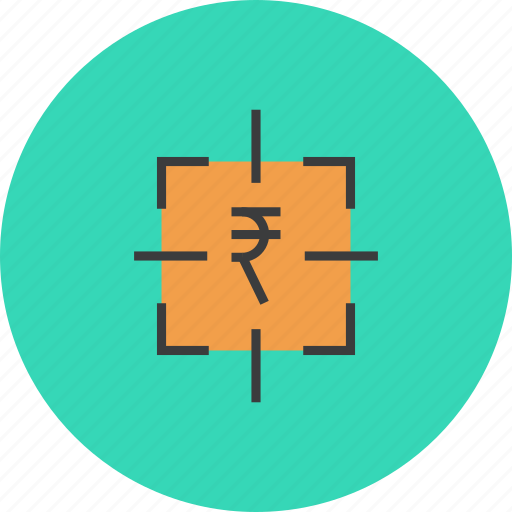 business, financial, focus, goal, money, rupee, target icon
