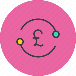accounts, exchange, flow, funds, pound, sync, transfer icon