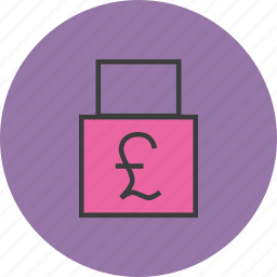 account, business, funds, lock, pound, private, transaction icon