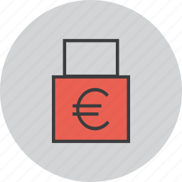 account, business, euro, funds, lock, private, transaction icon