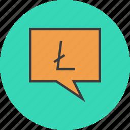 alert message, communication, litecoin, mobile banking, notification, speech bubble, transaction details icon