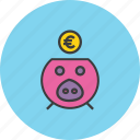 bank, banking, euro, finance, guardar, piggy, save, savings icon