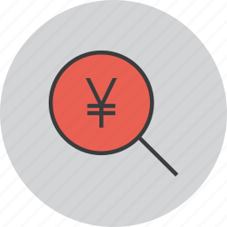 find, funds, identify, locate, search, source, yen icon