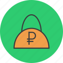 bag, balance, cash, finance, ruble, shopping, trade icon