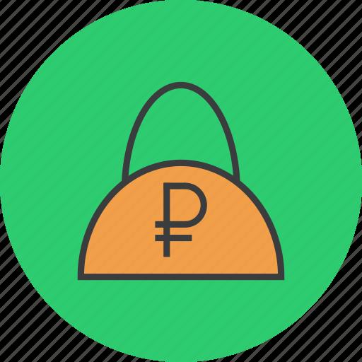 bag, balance, cash, finance, ruble, shopping, trade icon