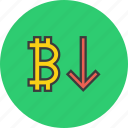 bitcoin, decrease, digital, finance, online, usage, value icon