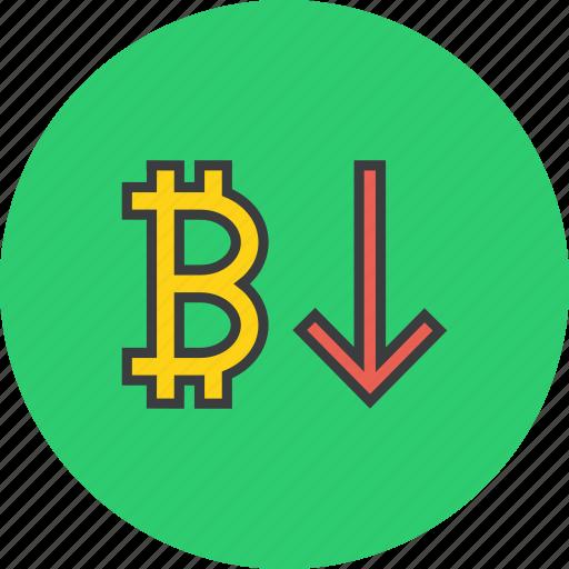 bitcoin, decrease, digital, finance, online, usage, value icon