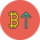 bitcoin, finance, increase, online, trade, usage, value icon