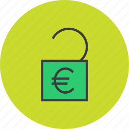 banking, business, finance, funds, release, transaction, unlock icon