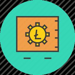 digital, litecoin, locker, protection, safe, storage, vault icon