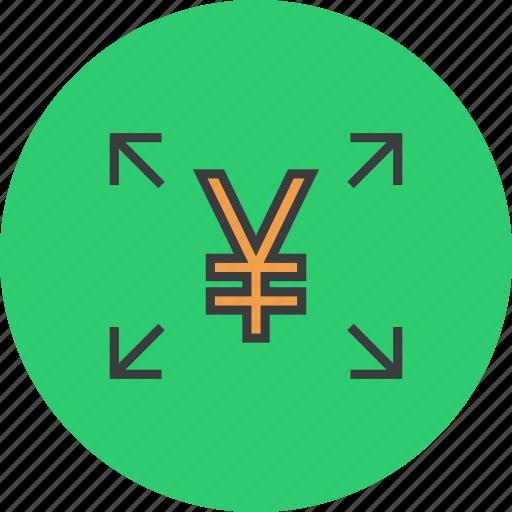 allocate, cash, flow, fund, share, transfer, yen icon