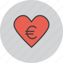 care, charity, donate, donation, euro, love, trust icon
