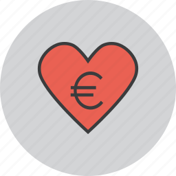 care, charity, donate, donation, euro, love, trust icon