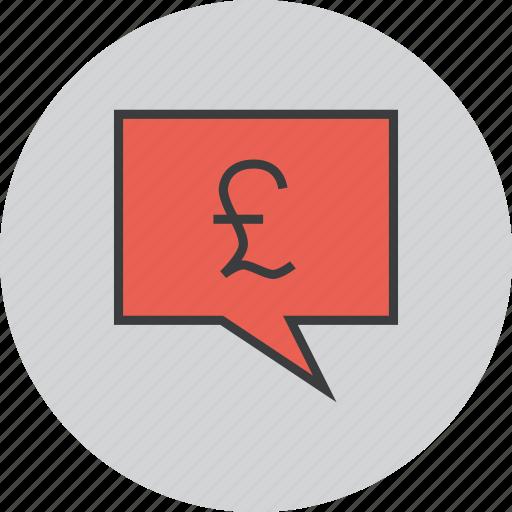 balance, communication, message, mobile banking, pound, speech bubble, transaction details icon