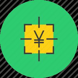 capture, cash, compute, fix, money, target, yen icon