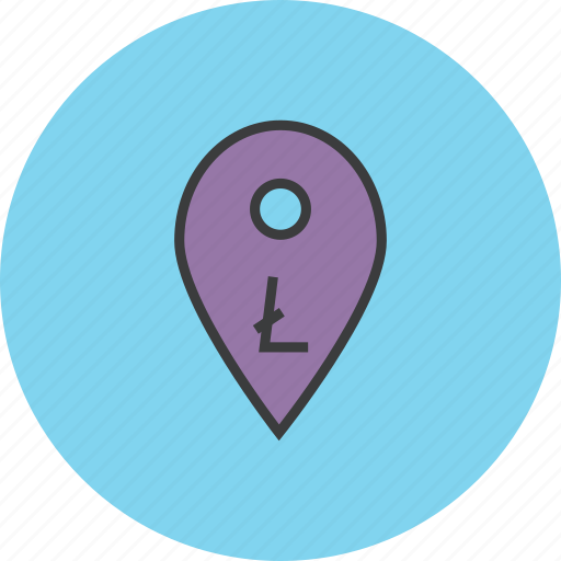 digital currency, litecoin, location, map marker, pin, pointer, usage icon