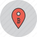 bitcoin, digital, location, map, marker, pin, usage icon