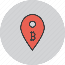 bitcoin, digital, location, map, marker, pin, usage icon