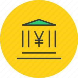 bank, banking, building, commerce, financial, instituition, yen icon