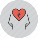 care, charity, donate, donation, love, rupee, trust icon