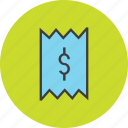 bill, cost, dollar, finance, invoice, receipt, trade icon