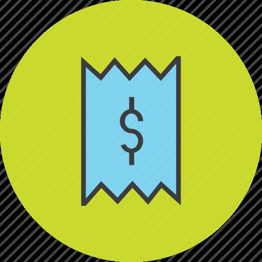 bill, cost, dollar, finance, invoice, receipt, trade icon