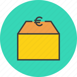 euro, market, package, product, shipping, shopping, supply icon
