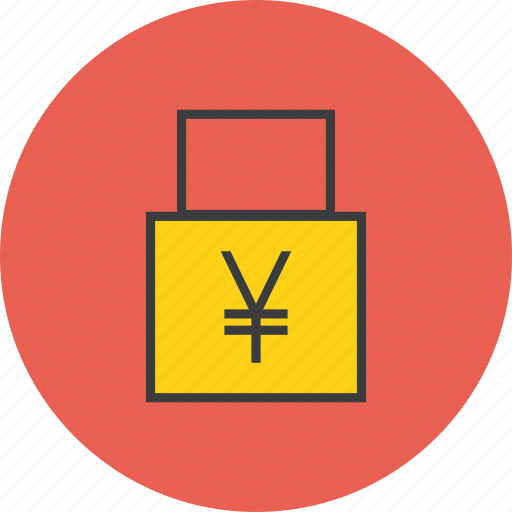 account, business, funds, lock, secure, transaction, yen icon