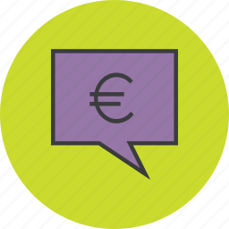 balance, communication, euro, message, mobile banking, speech bubble, transaction details icon