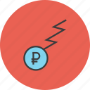 business, charge, finance, flow, funds, ruble, trade icon