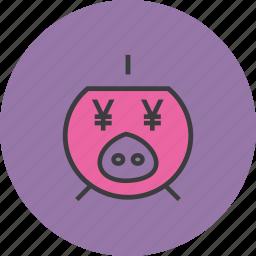 bank, banking, finance, piggy, save, savings, yen icon