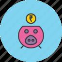 bank, banking, finance, piggy, rupee, save, savings icon
