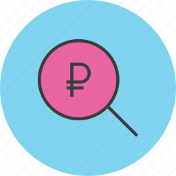 find, funds, identify, locate, ruble, search, source icon