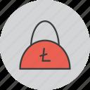 bag, balance, ecommerce, finance, litecoin, shopping, trade icon