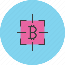 bitcoin, capture, digital, target icon
