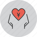 care, charity, donate, donation, love, trust, yuan icon