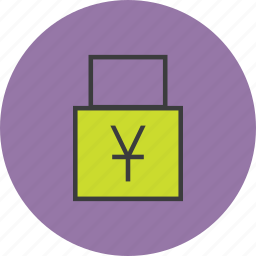 account, business, disable, funds, lock, transaction, yuan icon
